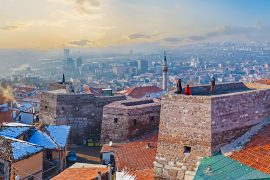 Ankara, Turkey - January 16, 2015: Panorama oh Hisar Castle Hill with the old stone towers, connected by the huge wall, Ankara, Turkey.